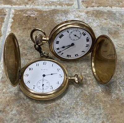 Lot 1-A LOT OF TWO GOLD PLATED POCKET WATCHES