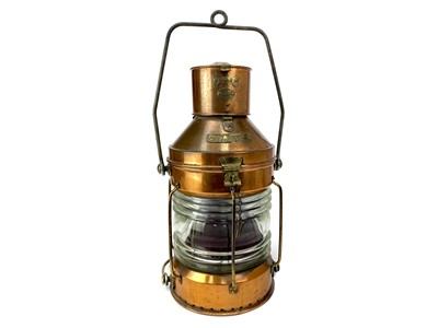 Lot 1602-A SHIP'S COPPER 'NOT UNDER COMMAND' LAMP BY R.C. MURRAY