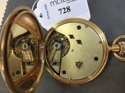 Lot 728-A CONTINENTAL EIGHTEEN CARAT GOLD FULL HUNTER CHRONOGRAPH KEYLESS WIND POCKET WATCH