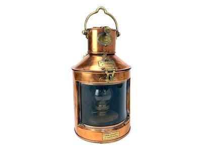 Lot 1604-A SHIP'S COPPER 'METEORITE' LAMP BY WM. HARVIE & CO