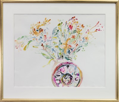 Lot 578-FLORAL STILL LIFE, A WATERCOLOUR BY CAROL MOORE