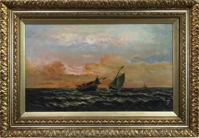 Lot 13-SHIPS IN CHOPPY SEAS, AN OIL