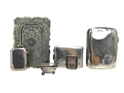 Lot 457 - A VICTORIAN SILVER CARD HOLDER ALONG WITH A CIGARETTE CASE AND OTHER ITEMS