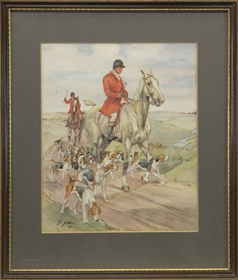 Lot 416-THE HUNT, A WATERCOLOUR BY J E JEPHSON