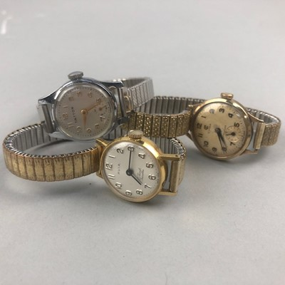 Lot 4-A LADY'S NINE CARAT GOLD WRISTLET WATCH BY CYMA AND TWO OTHER WATCHES