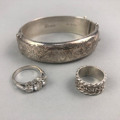 Lot 8-A SILVER BANGLE, SILVER RING AND PASTE SET RING