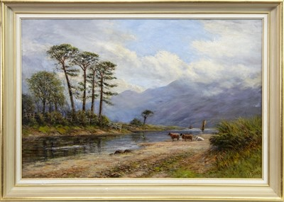 Lot 406-HIGHLAND CATTLE IN LANDSCAPE, AN OIL BY W BAIRD