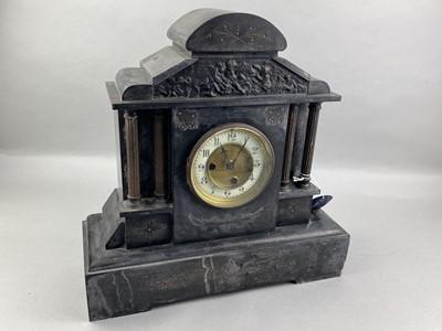 Lot 25-A LATE VICTORIAN BLACK SLATE MANTEL CLOCK