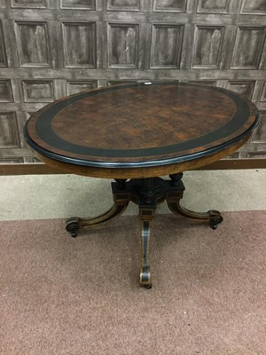 Lot 1605-A VICTORIAN WALNUT AND EBONISED OVAL LOO TABLE