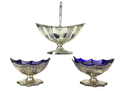 Lot 477 - A VICTORIAN SILVER SUGAR BOWL ALONG WITH A PAIR OF SALTS