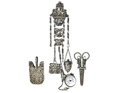 Lot 478 - A VICTORIAN SILVER CHATELAINE