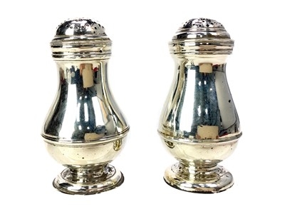 Lot 482 - A PAIR OF SILVER SALT & PEPPER SHAKERS