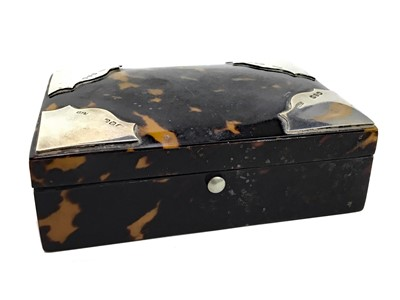 Lot 483 - A VICTORIAN SILVER AND TORTOISESHELL CASKET