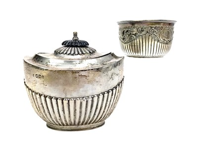 Lot 484 - A VICTORIAN SILVER SUGAR BOWL ALONG WITH ANOTHER