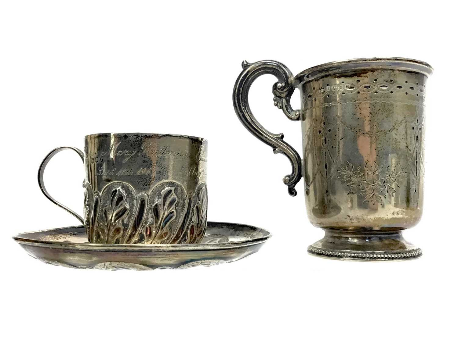 Lot 485 - A VICTORIAN SILVER CHRISTENING CUP ALONG WITH A CUP AND SAUCER
