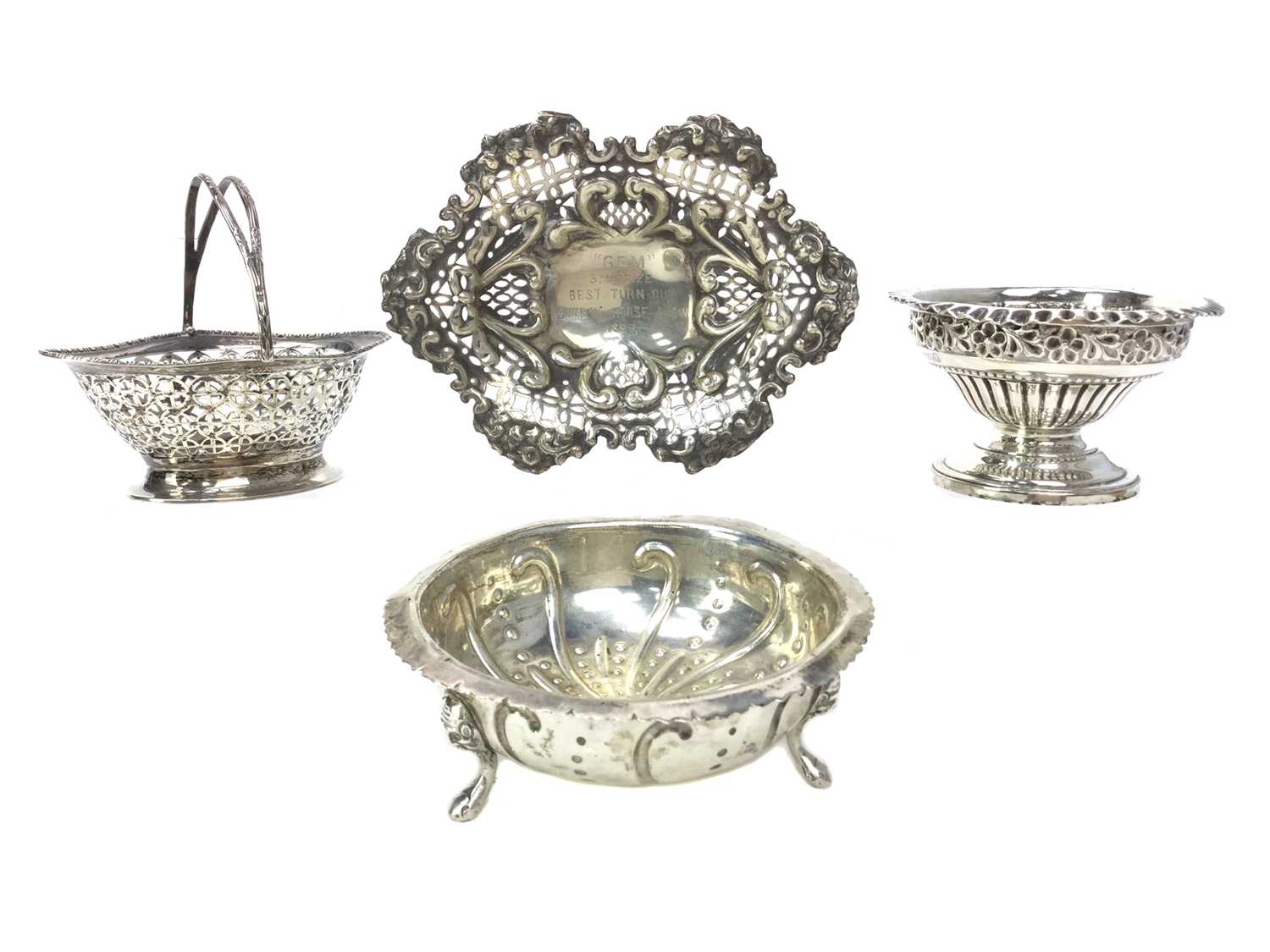 Lot 488 - A LOT OF FOUR SILVER BONBON DISHES