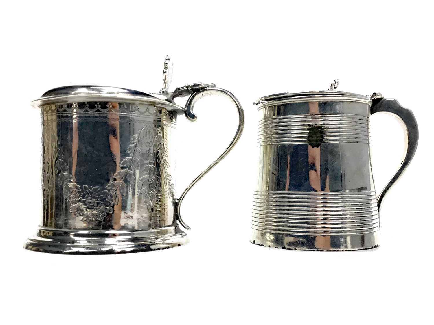 Lot 489 - A LOT OF TWO SILVER PRESERVE POTS