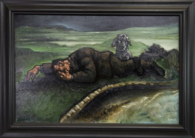 Lot 519-LAST MAN ON EARTH, AN OIL BY PETER HOWSON