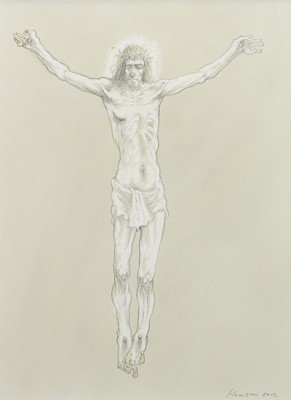 Lot 520-THE CRUCIFIXION, A MIXED MEDIA BY PETER HOWSON