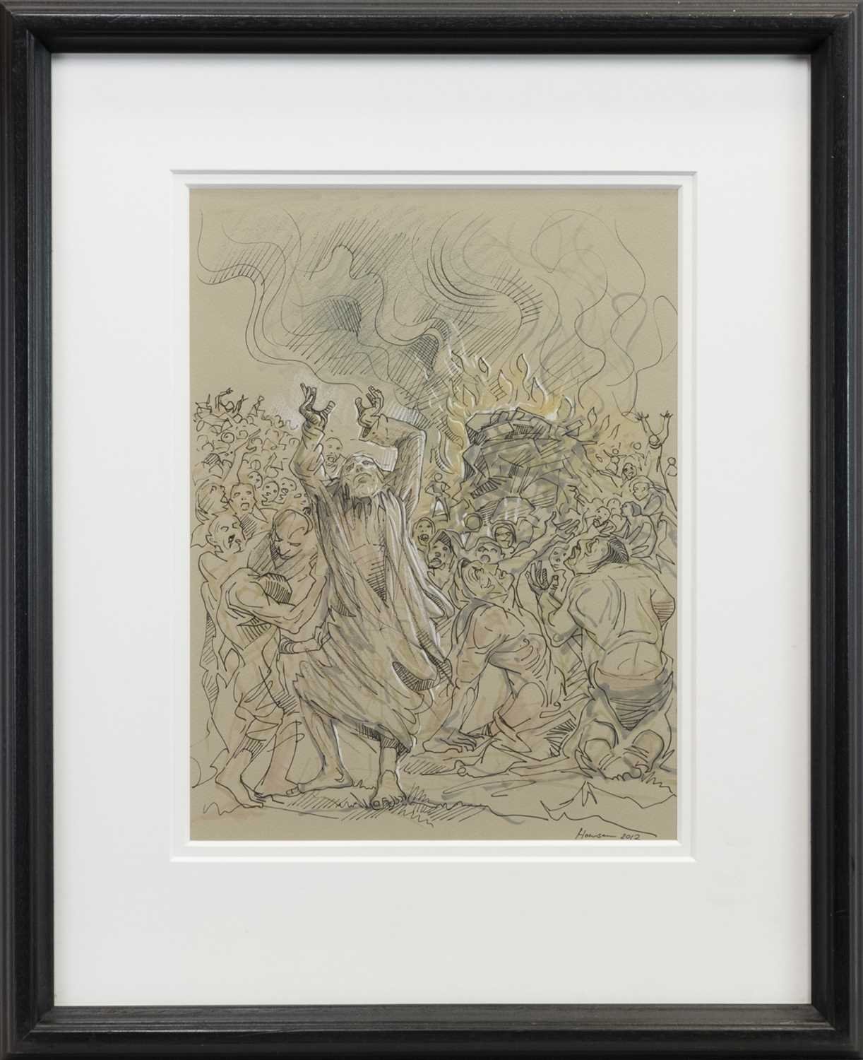 Lot 522-MOSES AND THE BURNING BUSH, A MIXED MEDIA BY PETER HOWSON