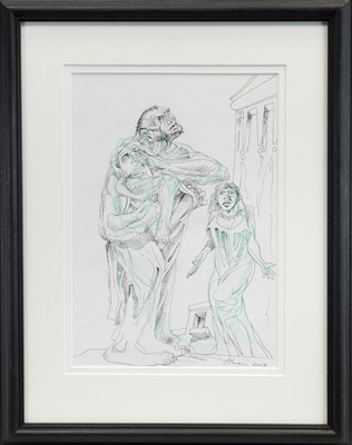 Lot 525-DAVID AND BATHSHEBA, A MIXED MEDIA BY PETER HOWSON