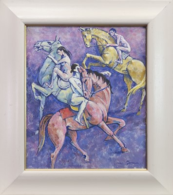 Lot 533-THE THREE HORSES, AN OIL BY JAMES GORMAN