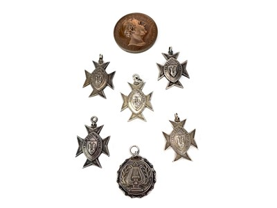 Lot 1618-A LOT OF SIX SILVER AND A BRONZE MEDAL