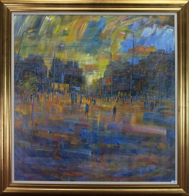 Lot 538-OPEN STREET, AN ACRYLIC ON CANVAS BY SYLVIA ALLEN