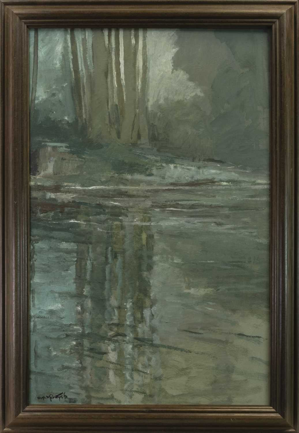Lot 88 - WOODLAND REFLECTIONS, AN OIL BY HUGH MCINTYRE