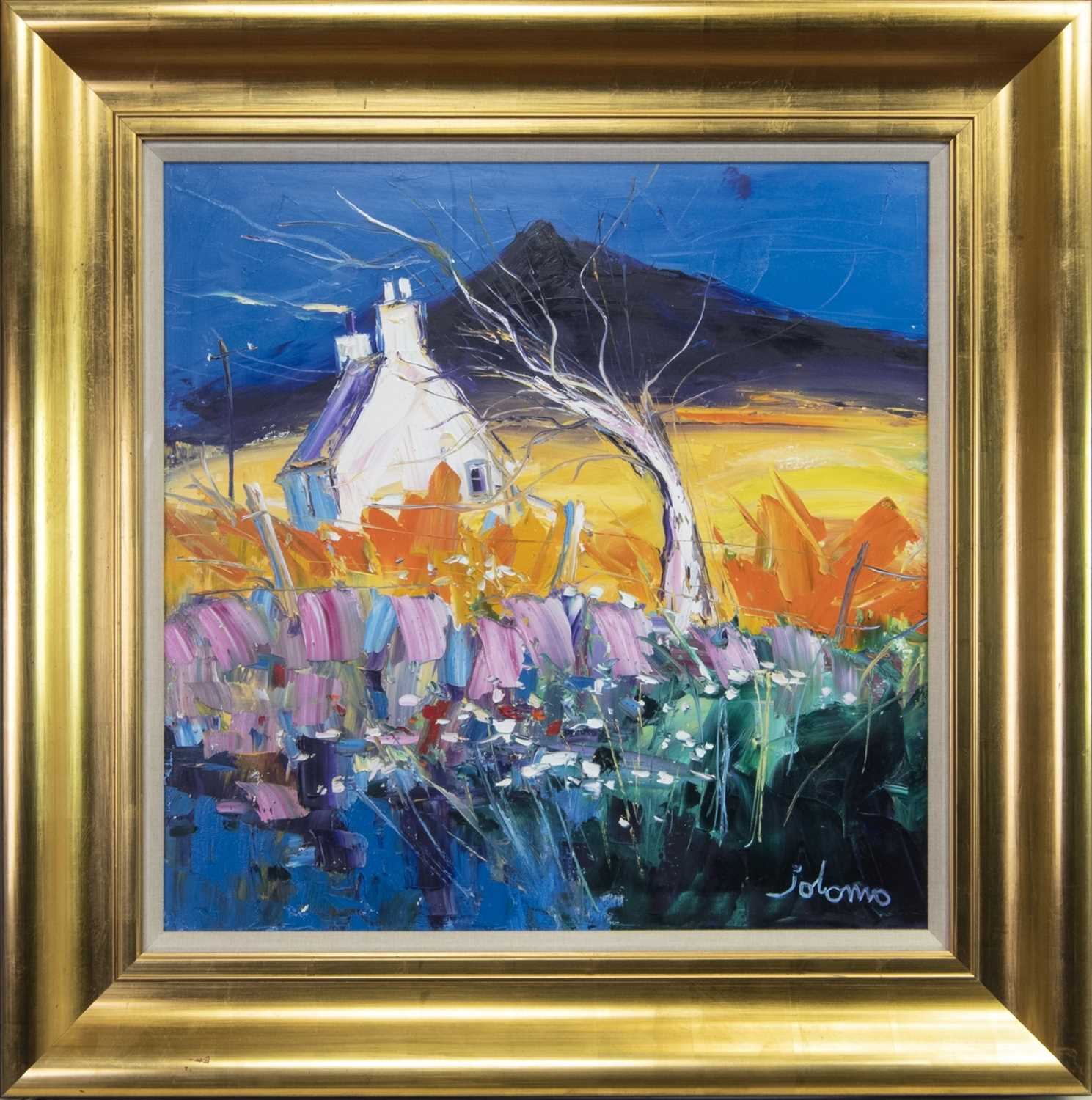 Lot 728 - CROFT AND TREE, BEN MORE, MULL, AN OIL BY JOLOMO