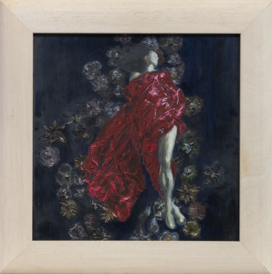 Lot 124 - STUDY OF A LADY IN RED, AN OIL BY GRAEME SHARP