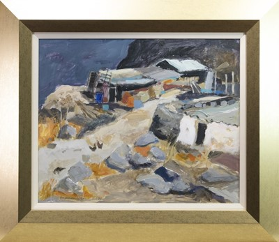 Lot 540-HUTS AND HEN HOUSES, A MIXED MEDIA BY SHEILA MACMILLAN