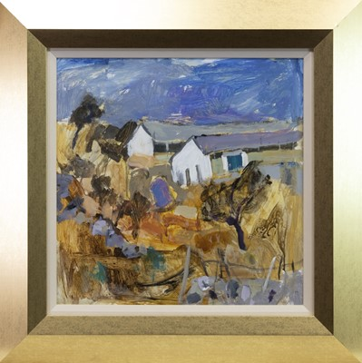 Lot 541-HEN HOUSES, BATTERY, FROM THE FOOTBALL FIELD, AN OIL SHEILA MACMILLAN