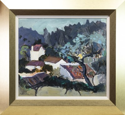 Lot 542-MONTEJAQUE FROM THE GARDEN OF EL NARANJO, AN OIL BY SHEILA MACMILLAN