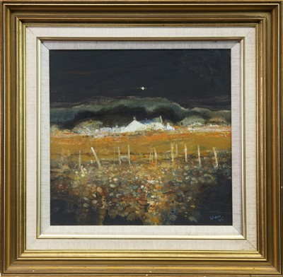 Lot 545-FARMHOUSE ON ARRAN, A MIXED MEDIA BY GORDON HOPE WYLLIE