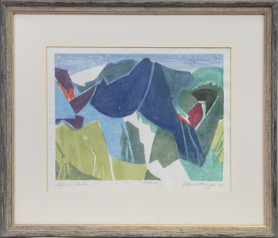 Lot 546-SILENT PEAKS, A WOODCUT BY ETHEL MAGAFAN