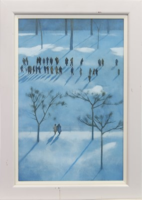 Lot 548-FIGURES IN THE TUILLERIES, AN OIL BY PETER NARDINI