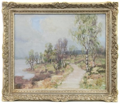 Lot 550-BIRCH TREES BY THE SHORE, LOCH LOMOND, AN OIL BY WILLIAM WRIGHT CAMPBELL