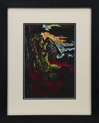 Lot 110 - ARTIST AND MODEL, A LINOCUT BY JOSEPH URIE
