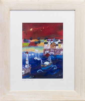 Lot 555-RED LIGHTHOUSE, A GICLEE PRINT BY SARA MEAD