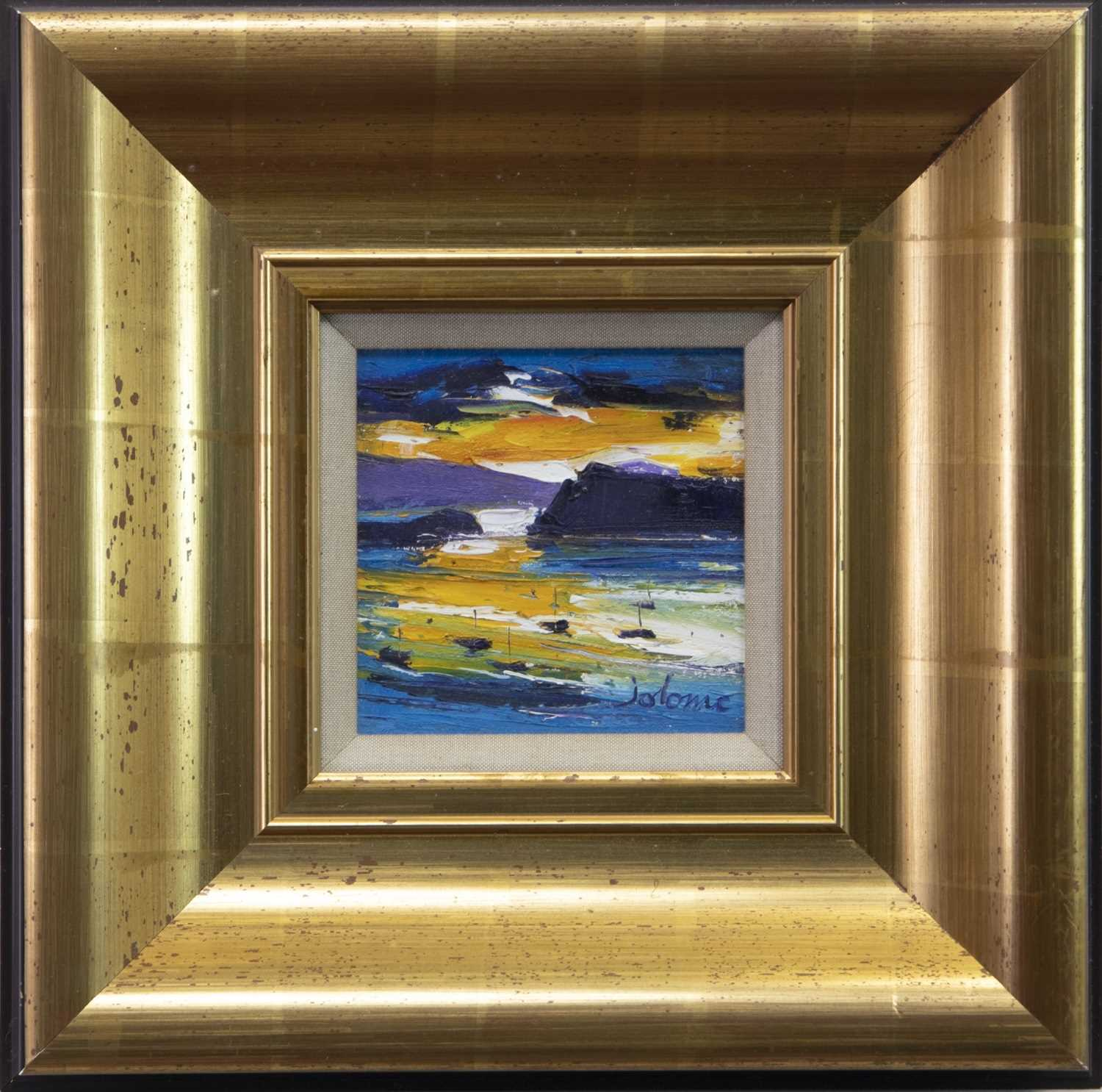 Lot 775 - SUNRISE AT TOBERMORY, AN OIL BY JOLOMO