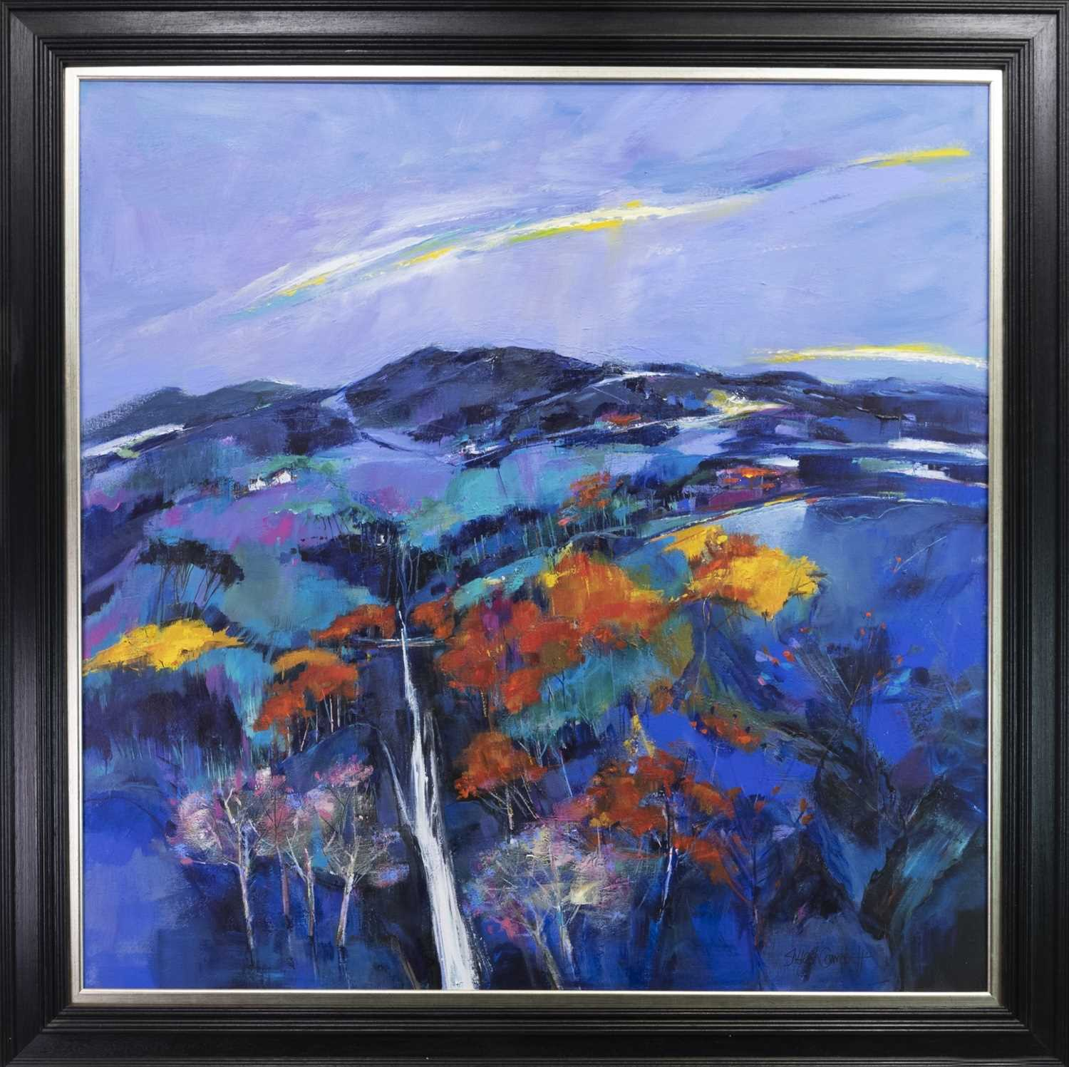 Lot 741 - THE FALLS OF MEASACH, AN ACRYLIC BY SHELAGH CAMPBELL