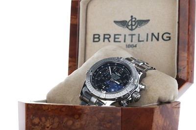 Lot 749-A GENTLEMAN'S BREITLING CHRONOGRAPH RATTRAPANTE STAINLESS STEEL AUTOMATIC WRIST WATCH