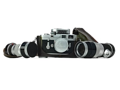 Lot 1107-A LEICA CAMERA WITH FITTED LENS AND TWO OTHERS