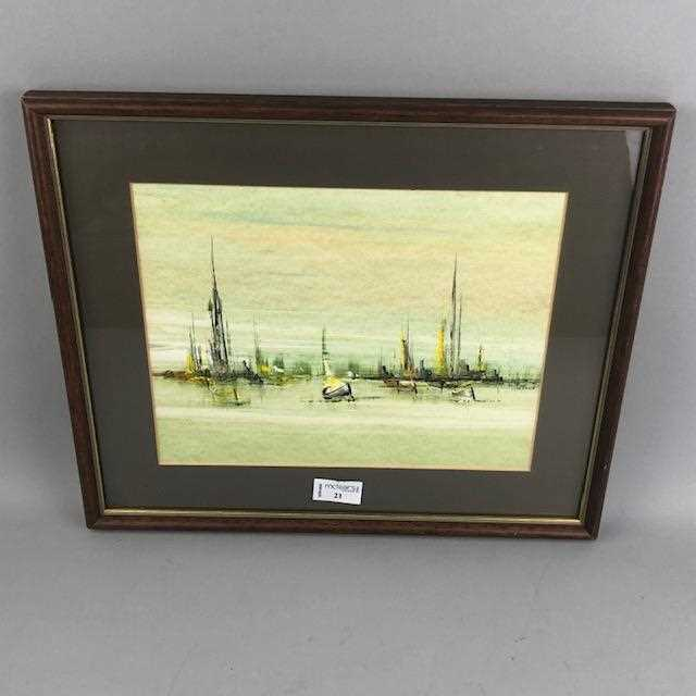 Lot 21-YACHTS IN HARBOUR,A MIXED MEDIA