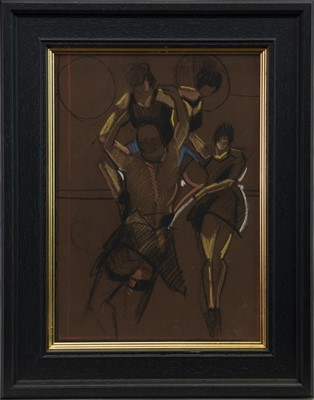 Lot 563-DANCERS III, A PASTEL AND CHARCOAL BY JAMIE O'DEA