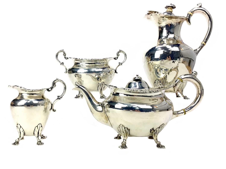 Lot 499 - AN EDWARDIAN SILVER FOUR PIECE TEA SERVICE