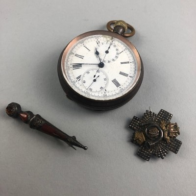Lot 7-A VICTORIAN KEYLESS WIND POCKET WATCH AND OTHER ITEMS