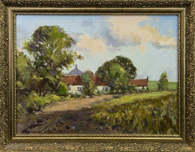 Lot 57 - COUNTRY LANDSCAPE, AN OIL BY J D HENDERSON