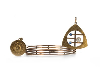 Lot 1315-TWO GOLD PENDANTS AND A BANGLE